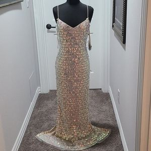 NWT Adrianna Papell Beaded Slim Column Dress Gown